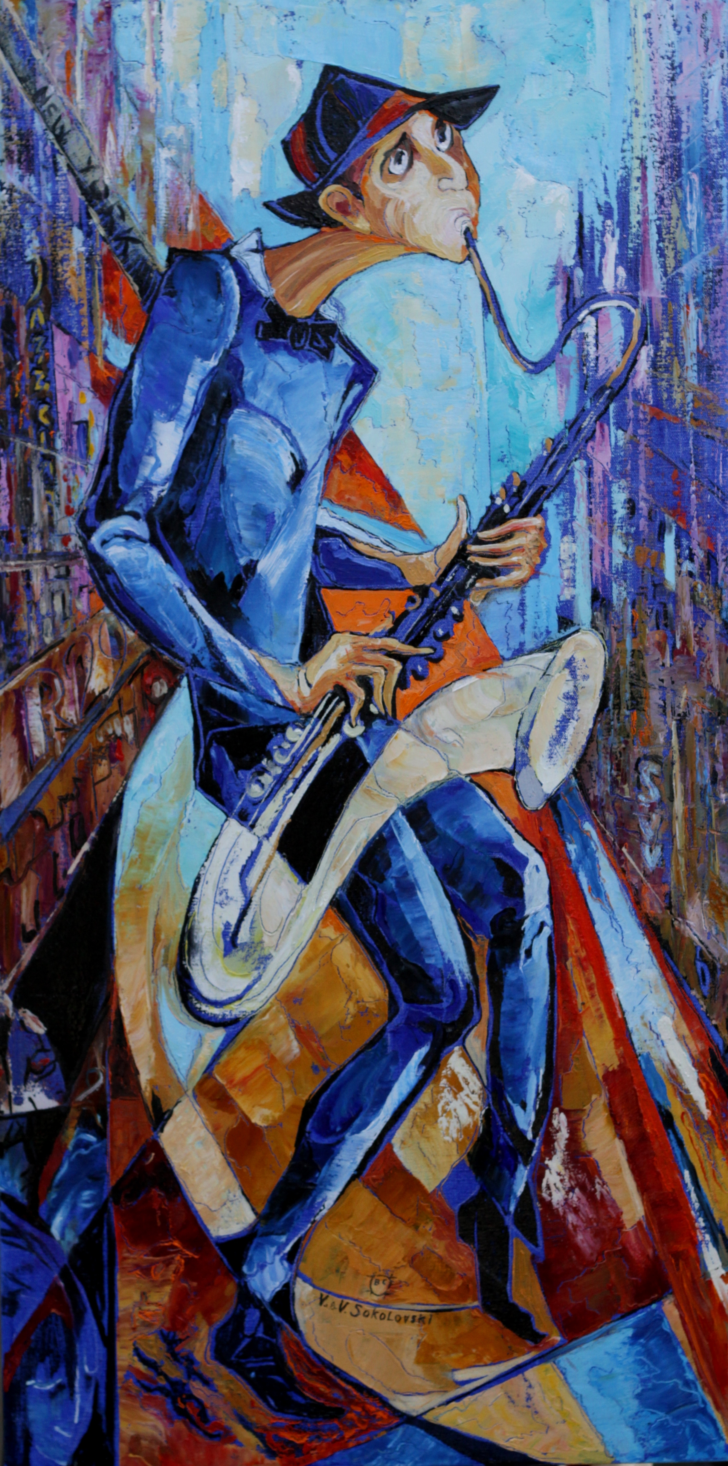 Stone Wall Mural Street Musician Series 2 Saxophonist Oil On Canvas 36